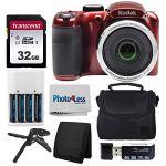 Tech :  Appareil photo numérique Kodak PIXPRO AZ252 Astro Zoom 16 Mpx (rouge) + étui pour appareil photo Point & Shoot + carte mémoire SD Transcend 32 Go + batteries rechargeables et chargeur + lecteur de carte USB + trépied de table + accessoires  , avis