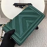 Mdsfe Bolsos de Cuero de diseño de Lujo para Mujer Bolsos de Cuero de Moda de un Solo Hombro de Gran tamaño clásico Entrega Gratuita - Verde, 25-15-7