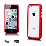 iCues - Apple iPhone 5C - Pare-chocs avec des boutons en aluminium rouge -...
