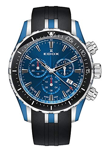 EDOX Herren-Armbanduhr Grand Ocean Chronograph Datum Analog Quarz 10248 357BU BUIN
