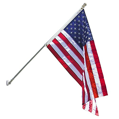 Annin Flagmakers Model 238 American Flagpole Kit 6ft 2 Section White Spinning Pole That Rotates 360 Degrees with US Flag, 3x5 ft