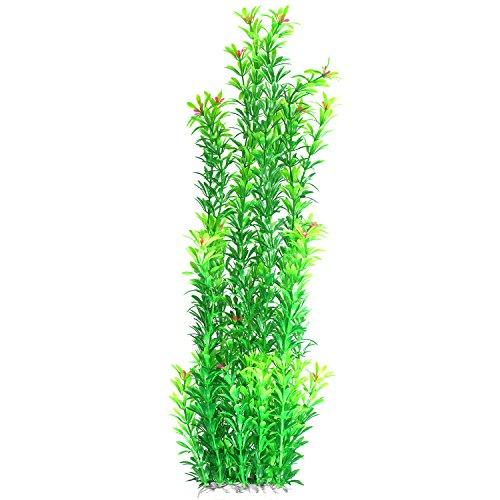 JDYW 52cm Künstliche Aquarium Wasserpflanzen Groß Künstliche Pflanzen Plastikpflanzen mit Blumen Aquariumpflanze Aquarium Dekoration 20.5 Zoll