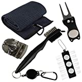 VIXYN Golf Accessories Gift Set - Golf Towel, Golf Club Brush with Groove Cleaner, Foldable Divot Repair Tool with Ball Marker, Golf Ball Line Marker and Tees with Holder - Golf Club Cleaning Kit