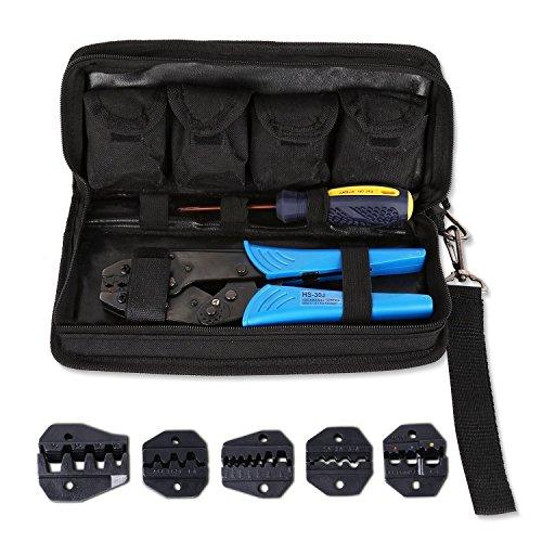 Amzdeal Crimpzange, Kabelschuhzange mit 5 wechselbaren Einsatzbacken und Ratschenfunktion für isolierte Verbinder (mit Tasche und Kreutzschlitz Schraubendreher) (Blau)