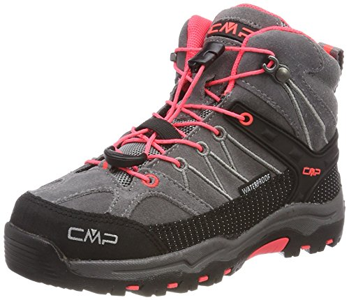 CMP Rigel, Stivali da Escursionismo Alti Unisex Bambini, Grigio (Grey-Red Fluo), 33