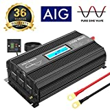 VOLTWORKS 1500W Pure Sine Wave Power Inverter DC 12v to AC 110v-120v with 4.8A Dual USB Ports 3 AC Outlets and Remote Control LCD Display for Home RV Truck(1500Watt Black)