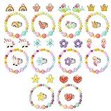Hifot Enfants Fille bagues Boucles d'oreilles Clip Bracelet 30 pièces, Licorne...