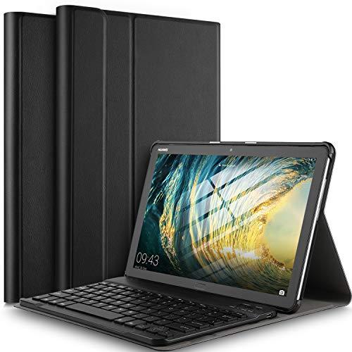 IVSO Tastiera Custodia Portfolio per Huawei Mediapad M5 Lite 10 (QWERTY English), Slim Custodia in...