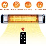 SURJUNY Electric Outdoor Heater, Outdoor Wall-Mounted Infrared Patio Heater with LED Display and Remote Control, 24Hours Timer Auto Shut Off, Space Heater for Bedroom, Garage, Backyard,1500W