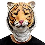 CreepyParty Deluxe Halloween Costume Party Latex Animal Full Head Mask Tiger Yellow