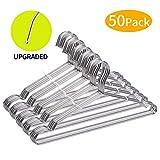 FSUTEG Wire Hangers, Clothes Hangers 50 Pack Heavy Duty Stainless Steel Metal Pants Hangers 16.5inch