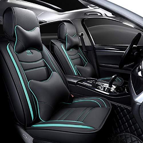 EverFabulous Coprisedili Auto in Pelle 5 posti Set Completo Universale (Lussuoso Nero-Blu)