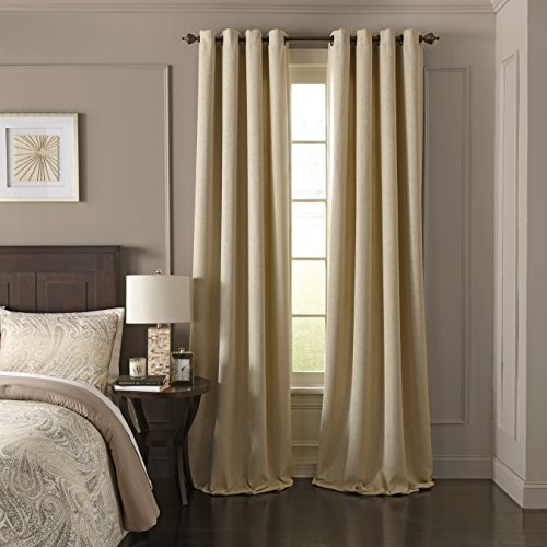 """Beautyrest Blackout Curtains for Bedroom - Arlette 52"""" x 84"""" Insulated Darkening Single Panel Grommet Top Window Treatment Living Room, Creme Brulee"""