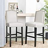 Glitzhome 45' H Bar Stools, Set of 2 Leatherette Bar Chair with Padded Upholstered Seat and Nail Head Studded, Solid Rubberwood Legs for Kitchen Dining Room Side Chairs, White