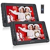 PUMPKIN Double Ecran DVD Voiture pour Enfant 10,1 Pouce (Un Lecteur DVD et Un Moniteur) Autonomie de 5 Heures supporte Région Libre USB SD MMC avec Sangle de Fixation dans Voiture
