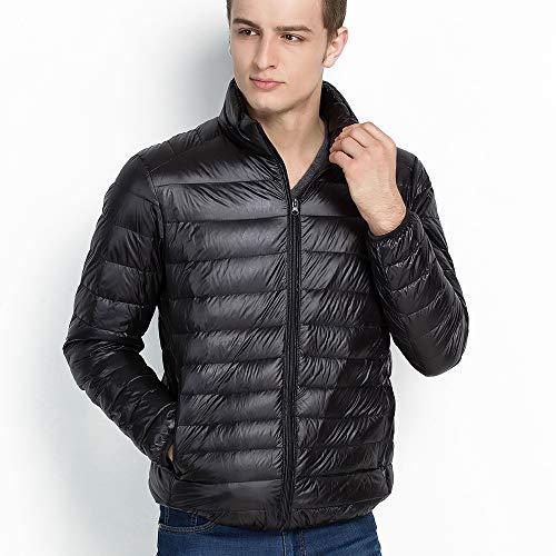 Vegena Herren Daunenjacken,Ultraleicht Sport Jacke,Stehkragen Jacke mit kleine Aufbewahrungstasche Schwarz L