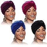 4 Pieces Turban for Women African Pre-Tied Knot Headwrap Bonnet Chemo Cap Beanie Hat