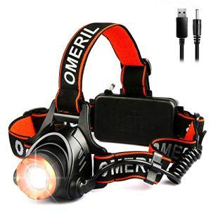 OMERIL Linterna Frontal LED, Linterna Cabeza USB Recargable con 2 Baterías - 4000mAh, Zoomable y Ajustable Luz Frontal con 3 Modos, Frontal LED para Camping, Excursión, Pesca, Caza, Ciclismo - IPX4 5