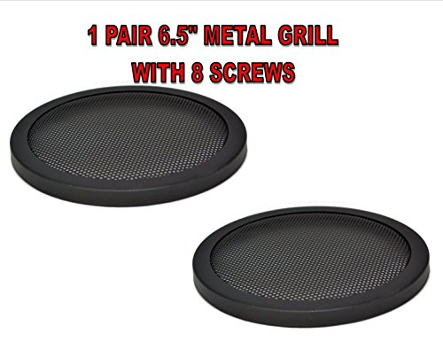 1PAIR 6.5 INCH CAR SPEAKER WOOFER STEEL MESH GRILL W/ SPEED CLIPS SCREWS GT-6.5