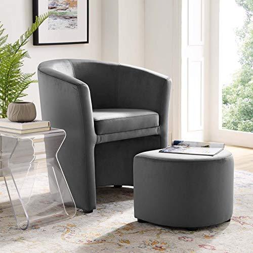 Modway Divulge Performance Velvet Armchair and Ottoman Set in Gray