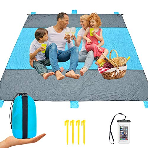 iValley Sand Proof Beach Blanket, 9x10 Extra Large Compact Beach Mat for 7 Adults Waterproof Picnic Blanket for Camping, Hiking, Travel  Quick Drying Heat Resistant Nylon, 4 Anchor Loops & Stakes