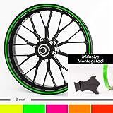 Motoking Felgenrandaufkleber mit Montagetool für Ihr Motorrad in NEON / 6 mm / für 10' bis 25' / Farbe wählbar - Neon Grün