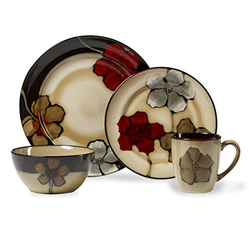 Pfaltzgraff Painted Poppies 16-Piece Stoneware Dinnerware Set, Service for 4, Tan/Assorted - 5217165