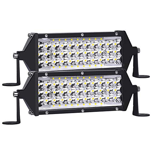 Zmoon LED Light Bar 7.5 Inch 288W Offroad Driving Fog Lights with Spot & Flood Combo Beam, 28000LM Waterproof Work Lights with Adjustable Mounting Bracket for Jeep Truck ATV UTV SUV Boat etc.(2 Pack)