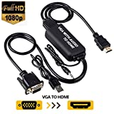 VGA to HDMI Cable, VGA to HDMI Adapter Cable with Audio for Connecting Old PC, Laptop with a VGA Output to New Monitor, Display, HDTV with HDMI Input (Male to Male)