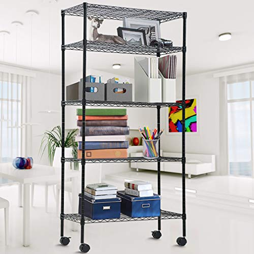 Storage Shelves Metal Wire Shelving Unit 5-Tier NSF Heavy Duty Organizer Height Adjustable Utility Rolling Steel Garage Shelving 14'W x 30'L x 60'H Commercial Grade Layer Shelf Rack with Wheels Black