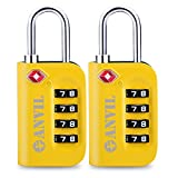 TSA Approved Luggage Lock - 4 Digit Combination padlocks with a Hardened Steel Shackle - Travel Locks for Suitcases & Baggage (YELLOW 2 PACK)