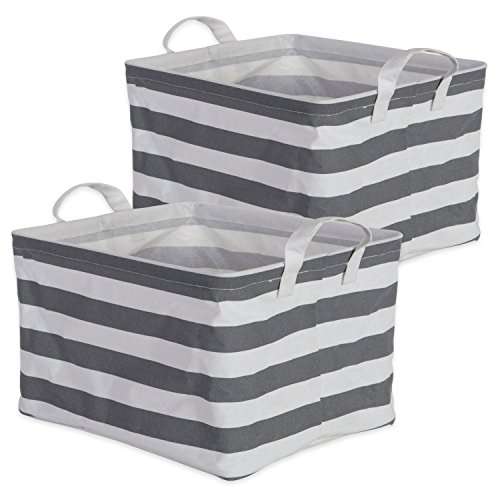 DII Cotton/Polyester Cube Laundry Basket, Perfect In Your Bedroom, Nursery, Dorm, Closet, 10.5 x 13 x 8.5', Medium Set of 2 - Gray Rugby Stripe