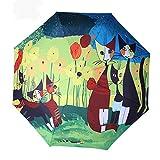 KCCCC Paraguas Plegable Compacto Viajes Paraguas de Sol a Prueba de Viento Protección UV a Prueba de Lluvia Manera de la Mujer Compacto Paraguas Viajes (Color : Multi-Colored)