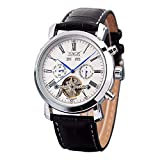 GuTe Dress Gentlemen Decor Tourbillon Automatic Mechanical Wrist Watch White Dial Full-calendar