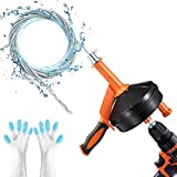 Drain Auger, Breezz Clog Remover with Drill Adapter, 25 Feet Heavy Duty Flexible Plumbing Snake Use Manually or Powered for Kitchen,Bathrom and Shower Sink, Comes with Gloves (Orange)