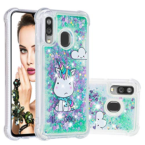 Abuenora Funda para Samsung Galaxy A40, Carcasa Brillos Purpurina Lentejuelas Líquida Transparente Silicona Antigolpes 360 Flexible Case con Dibujo Unicornio Cool