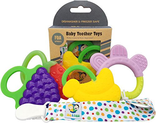 Ike & Leo Teething Toys| Baby Infant and Toddler with Pacifier Clip/Teether Holder | Best for Sore Gums Pain Relief | Eco Friendly BPA Free & Freezer Safe |Set of 4 Silicone Teethers (Assorted Fruits)