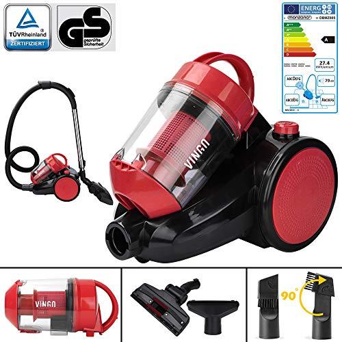 VINGO Bodenstaubsauger 900 Watt, HEPA 12 Filter, 2in1 Bodenbürste, 360° Schlauch, 3L Staubsauger Zyklonen Staubsauger beutellos Rot [Energieklasse A]