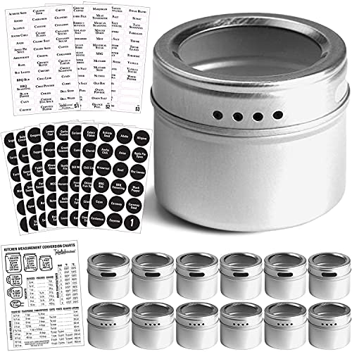 Talented Kitchen 12 Magnetic Spice Tins and 2 Types of Spice...