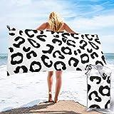 Lawenp Toalla de Playa de Secado rápido, Microfibra Estampada con Estampado de Leopardo Negro Toallas de baño Ligeras súper absorbentes para niños y Adultos 31.5 'X63'