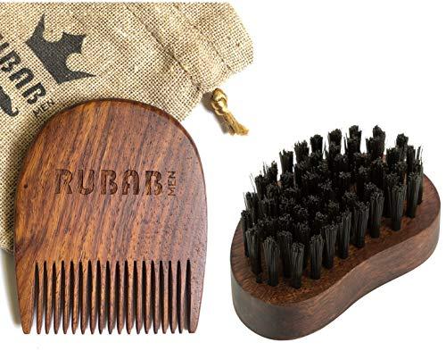 RUBAB MEN Beard Brush Comb Combo - Beard Brush nylon bristles | Beard Comb Sheesham Wood | Carry Pouch | Handcrafted in India