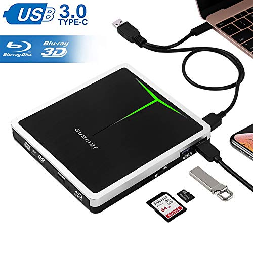 External Blu Ray DVD Drive Guamar 5 in 1 USB 3.0/USB C 3D Blu Ray Drive Burner Writer Player for Laptop/Micbook/Windows 10/PC with SD&TF Card Reader/2 USB 3.0 Hub/1 Protective Storage Case