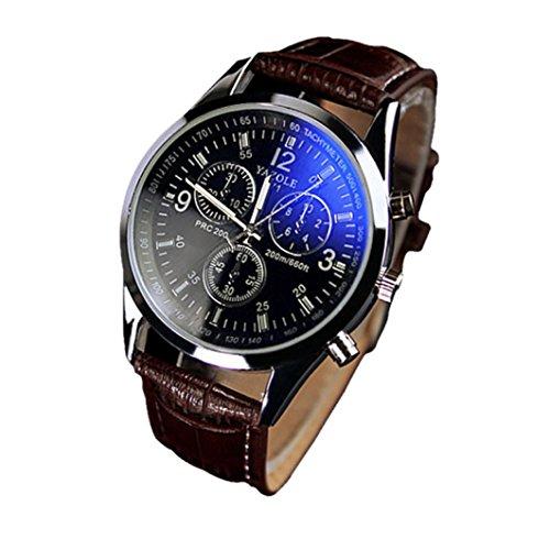 Fower&YY - Orologio analogico da uomo, alla moda, in vetro, al quarzo, colore: blu C-1