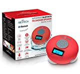 Bluetooth Speaker with LCD Display, NFC, FM Radio and Subwoofer Effect- Shower Speaker with Crystal Clear Sound and 3 Firm Suction Cups – Hands Free Speakerphone … (Red)