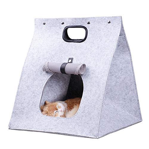 DHTOMC Cama para Gatos Únicos Hechos a Mano Natural de Fieltro de Lana Merino, Cubierta Grande y Acogedor Cachorro de Gato Sofá Cama Cojín (Color : Gray)