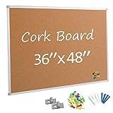 Board2by Cork Board Bulletin Board 36 x 48, Silver Aluminium Framed 4x3 Corkboard, Office Board for Wall Cork, Large Wall Mounted Notice Pin Board