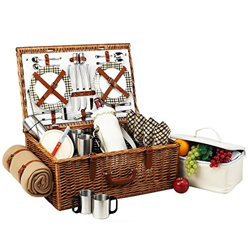 Picnic at Ascot Dorset English-Style Willow Picnic Basket with Service for 4, Coffee Set and Blanket- Designed, Assembled & Quality Approved in the USA