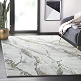 Contemporary Grey & Metallic Gold Area Rug, Non-Shed Modern Abani Rugs Marble Print 7'9' x 10'2' (8x10) Dining Room Rug