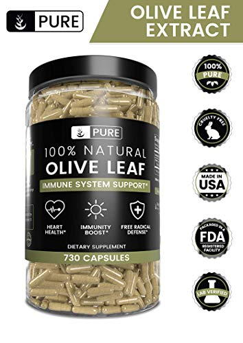 Olive Leaf, 1 Year Supply, 730 Capsules, 940mg, No Magnesium or Rice Filler, Non-GMO, Antioxidant, Gluten-Free, 20% Oleuropein, Made in USA, Undiluted Olive Leaf with No Additives 2
