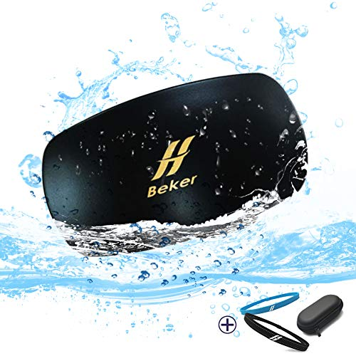 Beker 8GB Waterproof MP3 for Swimming Bone Conduction, IPX8 Open-Ear Underwater Swimming Mini Music and Audiobook Player with Clip, Wireless Portable Player for Watersports, No Headphones Needed